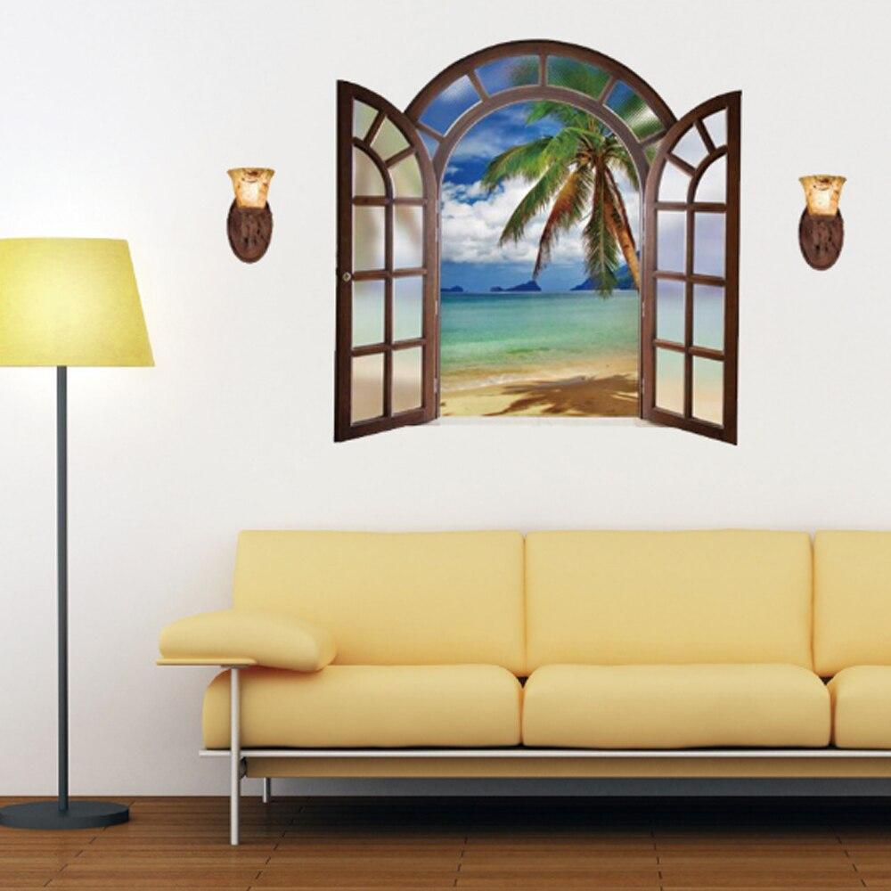 3D Fake Window Sea Coconut Tree Island Wall Sticker Home Decal Art ...