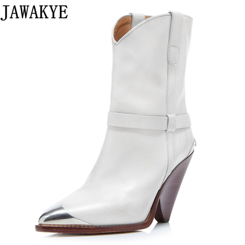 Genuine leather botas mujer Western Cowboy Boots women runway design fringe metal rivets studded Wedges high