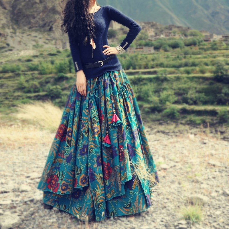 Compare Prices on Floral Print Skirt Long Floor Length- Online ...