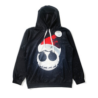 Christmas Funny Face Emoji Hoodies Women Loose Long Sleeve Black Hooded Sweatshirt Girl Cute Kawaii Party