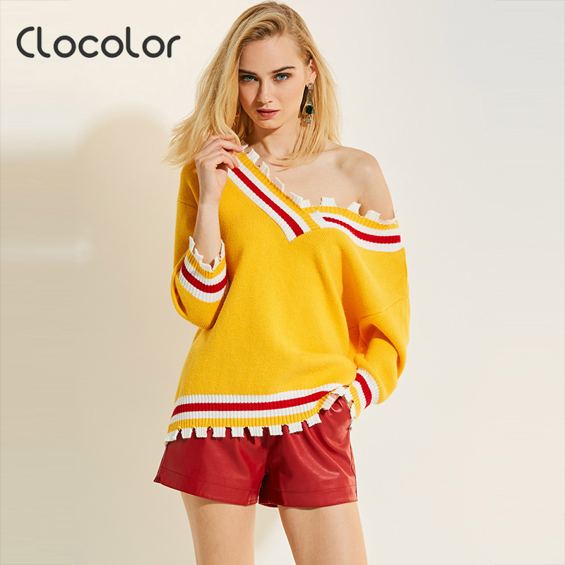 Clocolor Women Sweater 2017 V Neck Loose Pullover Stripe Long Sleeve Knitwear Autumn Fashion Top Modern