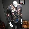 Primavera 2017 homens jaqueta de marca clothing slim fit jaqueta de beisebol luxo Floral Manga Longa Mens Jaquetas Gola Casaco Masculino 5XL