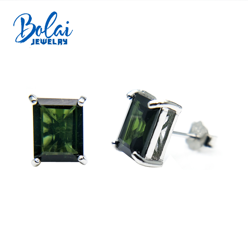 Bolaijewelry,Noble elegant 925 silver earring with natural green toumaline gemstone pendientes for women romantic gift for girl noble rhinestoned faux gemstone geometric bracelet for women