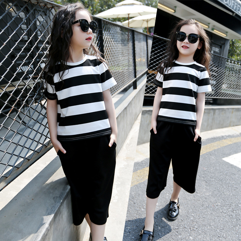 Summer Striped T-shirt +Pant Big Feet Wide Leg Pants Suit 5-16Years Children Clothing Set Nice Girls