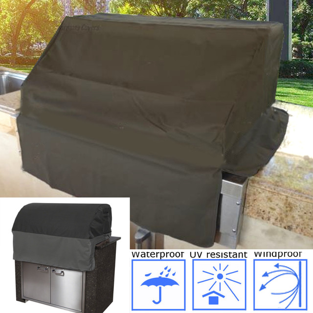 Black Outdoor Bbq Cover Built In Gas Barbecue Camping Grill Head Top Protective Accessories Kitchen Tools Waterproof