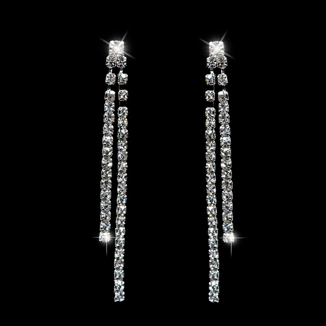 Double Strip Shape Crystal Bridal Long Earrings Sparkling Silver Color Rhinestone Dangle For Women Wedding