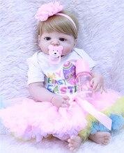 22 дюймов золото волос кукла-ребенок де силиконовые 55 см Reborn Baby Doll vivid реалистичные пупсик игрушка для девочки; дети подарок можно купать