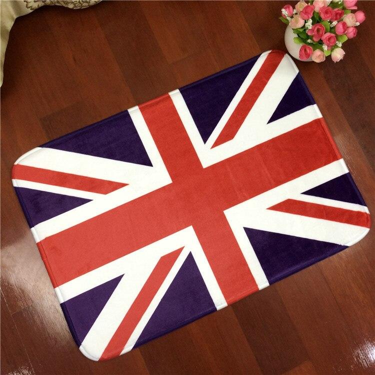 British/American Flag Style Carpet Anti Slip Floor Pad Soft Flannel Rug Mat  Living Room
