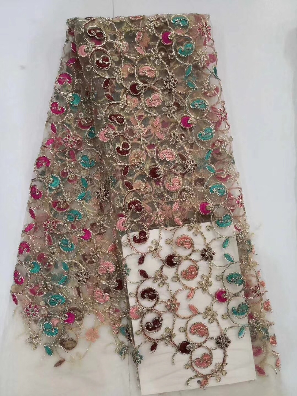Multicolor Flowers High Quality Gold Thread African Lace Fabric 2018 French Tulle Lace Fabric 5 Yards