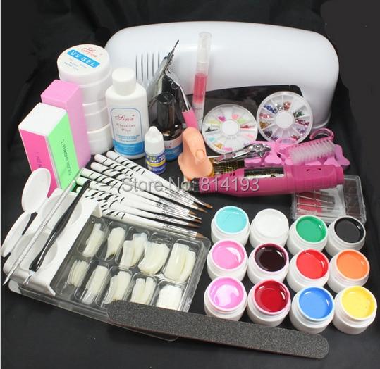 Pro Nail Art 9W UV Gel Lamp Brush Nail Art Tips Kits Tool & Electric File Drill pro nail art uv gel kits tools pink uv lamp brush tips glue acrylic powder set 20 2018