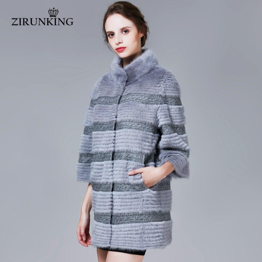 Nuevos abrigos de piel de visón Real para mujer, chaqueta de piel de invierno auténtica, abrigo de calidad para mujer, ZC1705