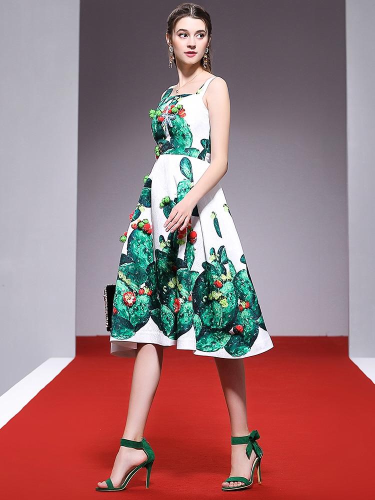 La Las Diseñador Planta Longitud Abalorios Vestido Truevoker Verde Cactus Correa Mujeres De Cristal Moda Casuales Verano Impreso Rodilla 6dwXq