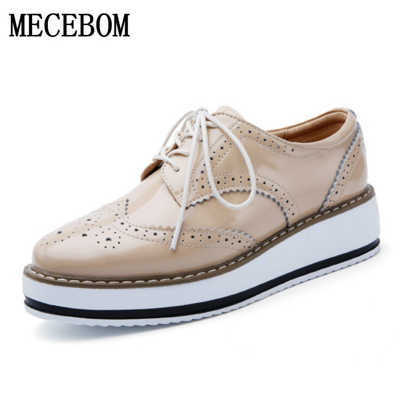 Women Platform Oxfords Brogue Flats Shoes Patent Leather Lace Up Pointed Toe Luxury Brand Beige Red Black Pink Creepers 366W qmn women genuine leather platform flats women cow leather oxfords retro square toe brogue shoes woman leather flats creepers