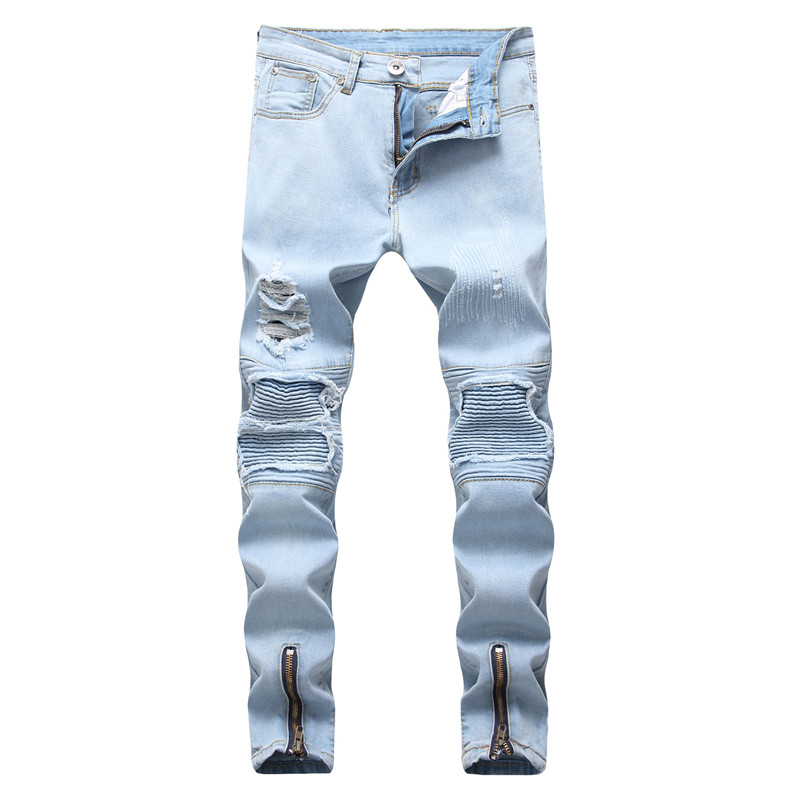 MORUANCLE Fashion Mens Ripped Biker Jeans Pleated Distressed Motorcycle Denim Trousers Pants For Man Ankle Zipper Washed Holes