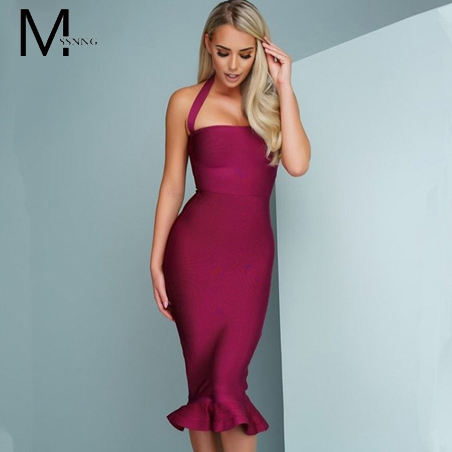 MSSNNG 2018 New Bandage Dress Sexy Women Party Dress Wine Red Bodycon Dress Halter Fishtail Midi Club Backless summer Dresses