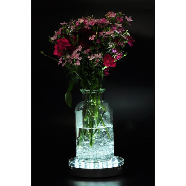 Battery Operated 6inch Round Under Vase Light Wedding Decoration White Color Led Base For Vases Crystals Centerpiece Decor