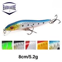Купить с кэшбэком HAODIAOZHE 1Pcs Fishing Lure Minnows Hard Bait 8cm 5.2g Topwater Japan Wobblers Isca Black Jerkbait Crankbaits Carp Fish YU26