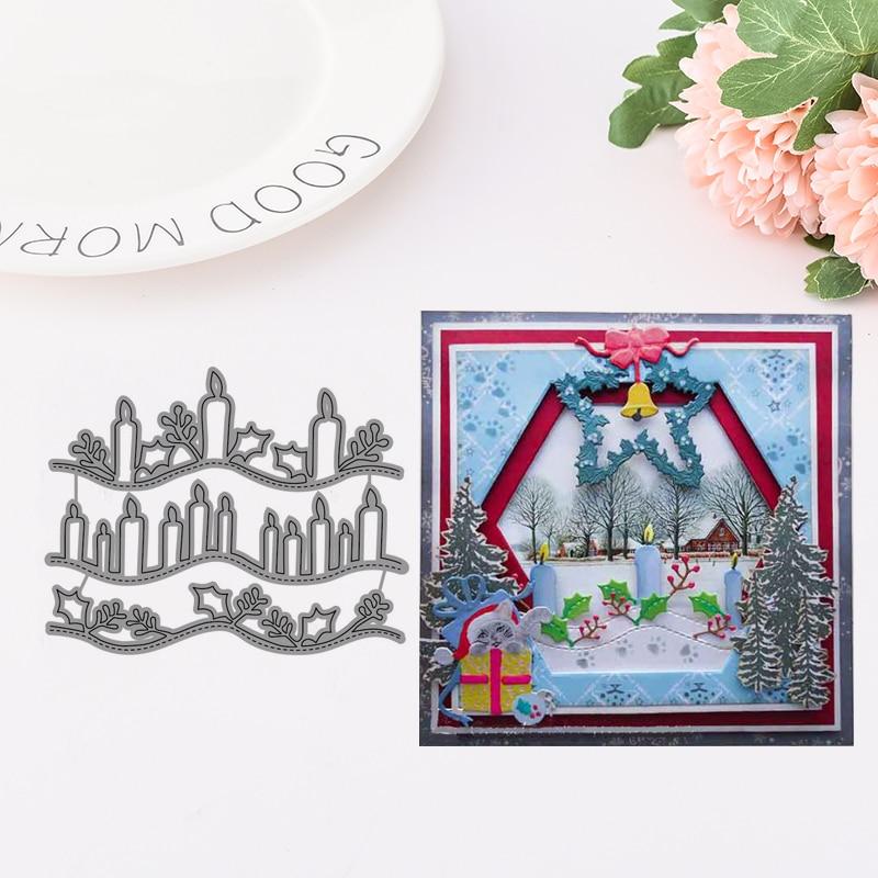 Delicate Candle Design Metal Cutting Dies for Scrapbooking DIY Album Embossing Folder Paper Card Maker Template Decor Stencils