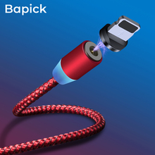 Bapick LED Magnetic Cable USB Charging Micro Type C Charger for Iphone Samsung S9 Xiaomi 1m Mobile Phone Wire Cord