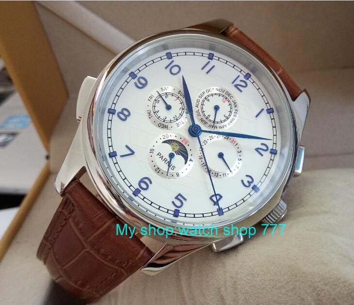44mm PARNIS White dial Blue hand Moon Phase Automatic Self-Wind Mechanical movement men watches Mechanical watches wholesale parnis white dial st3600 goose neck movement hand chain mechanical men s watch wholesale