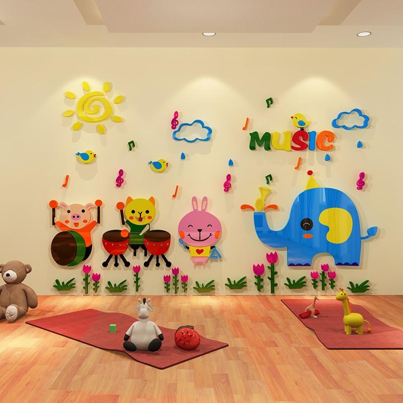 Cartoon Animal 3d Three Dimensional Wall Stickers Children