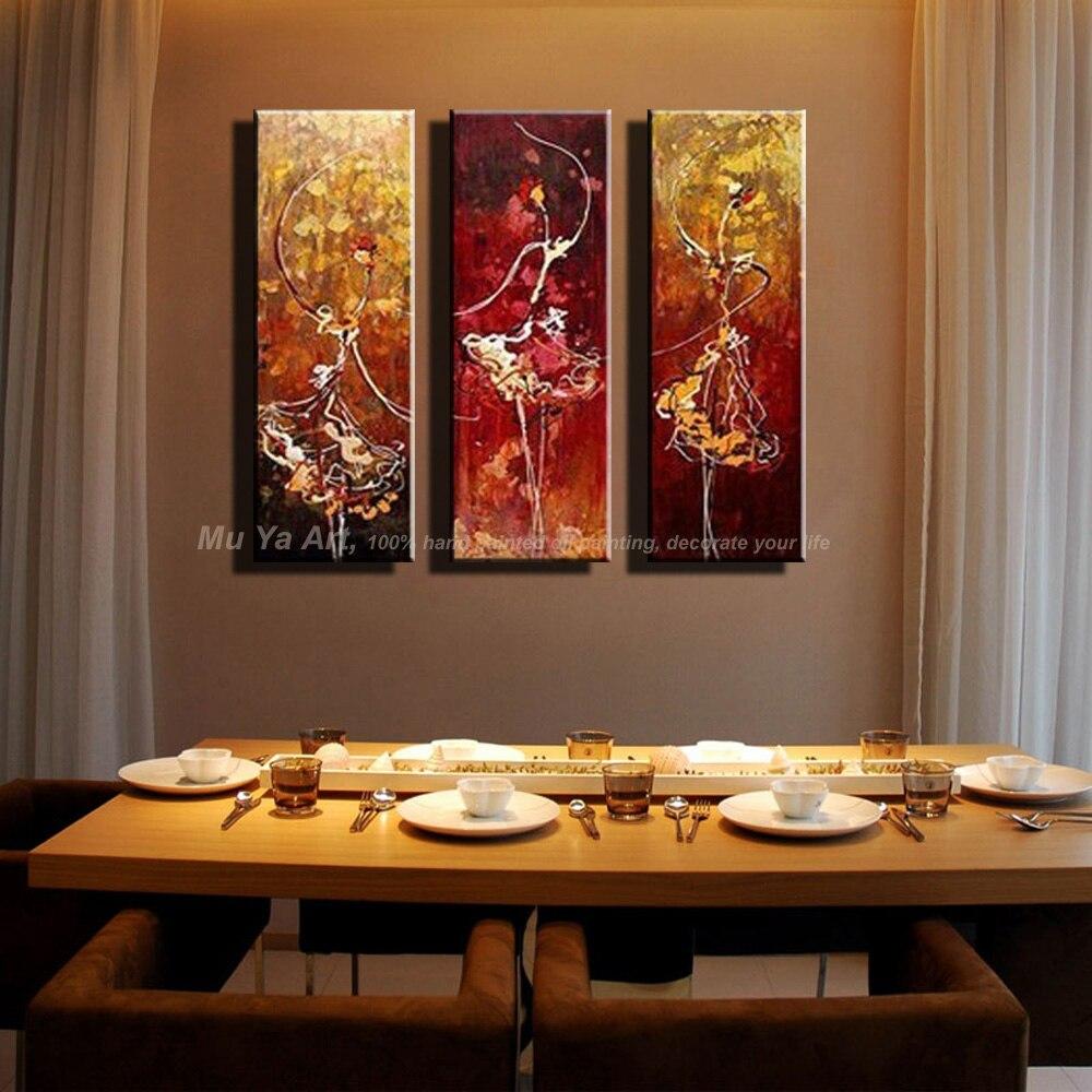 3 pièce d'art de mur art peintures ballerine ballet danseurs moderne abstrait peintures à l'huile sur toile mur photos pour salon