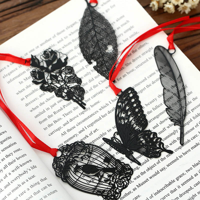 цена на Pack of 7 Creative Black Hollow Out Metal Bookmark DIY Vintage Retro Black Bird Butterfly Flower Leaf Package Korean Stationery