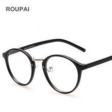 ROUPAI Clear Glasses Frame for Women Retro Round fake Eyewear Frames optical Men oculos de grau eyeglasses 8065