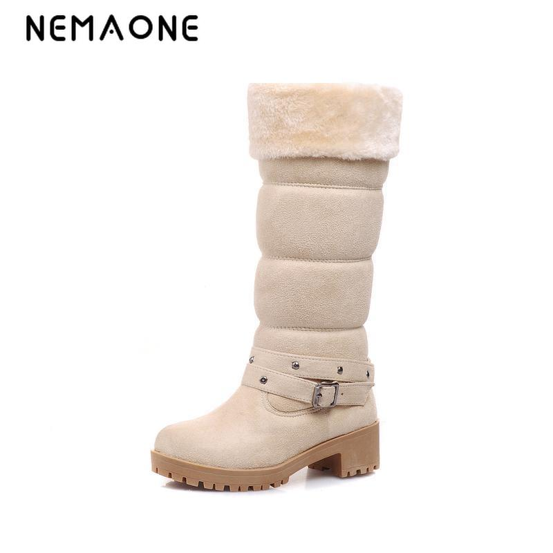 NEMAONE snow boots fashion winter Autumn casual shoes sweet women boot stylish square heel flock shoes fashion knee boots