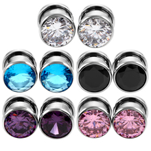 50Pcs/Lot Crystal Zircon Ear Plug Tunnel Earring Cartilage Expanders Gauges Screw Tragus Plugs and Tunnels Piercing Body Jewelry