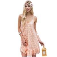 40 N1688NZ Summer Sexy Strap Back Lace Dress Mini Loose Lady Sweet Nightclub Wind Sand Beach