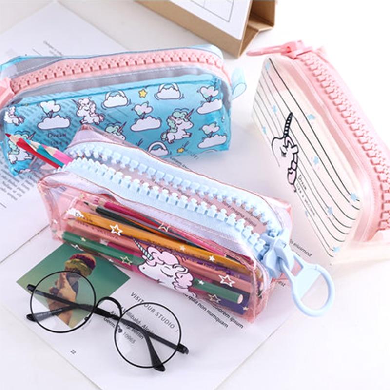 Transparent Unicorn Pencil Case Big Zipper Capacity School Pencil Bag Storage Pouch Pen Box School Supplies Stationery Gift