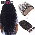 Malaysian Water Wave Virgin Hair Bundles With Closure Malaysian Curly Hair Lace Frontal Closure With Bundles Human Hair Closure