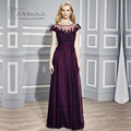 Elegante Púrpura Más El Tamaño de la Madre de la Novia Vestido de 2017 Trajes de Pantalón de Gasa de La Boda Vestidos de Fiesta Cap Manga larga de Encaje Vestidos