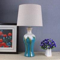 2017 Tuda Led Ceramic Table Lamps Creative Mediterranean Blue Ceramic Table Lamp For Living Room Bedroom
