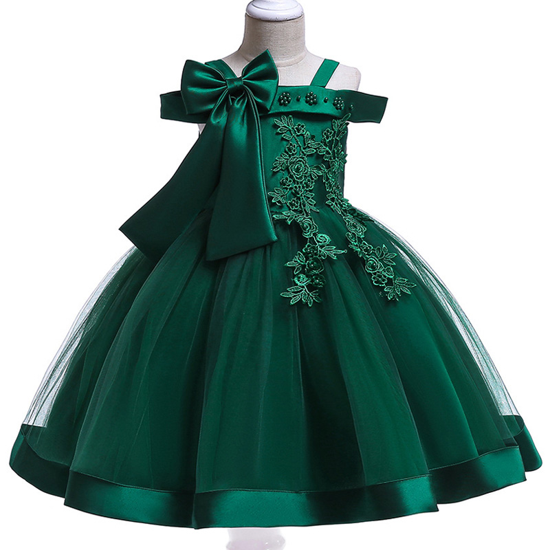 Retail 3-9 Years Kids Appliques   Flower     Girl     Dresses   Children   Girl   Elegant Wedding   Dress   With Big Bow   Girls   Party   Dress   L5081
