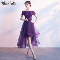 PotN Patio Purple High Low Prom Dresses 2018 Sexy Boat Neck Short Sleeves Flower Tulle Evening