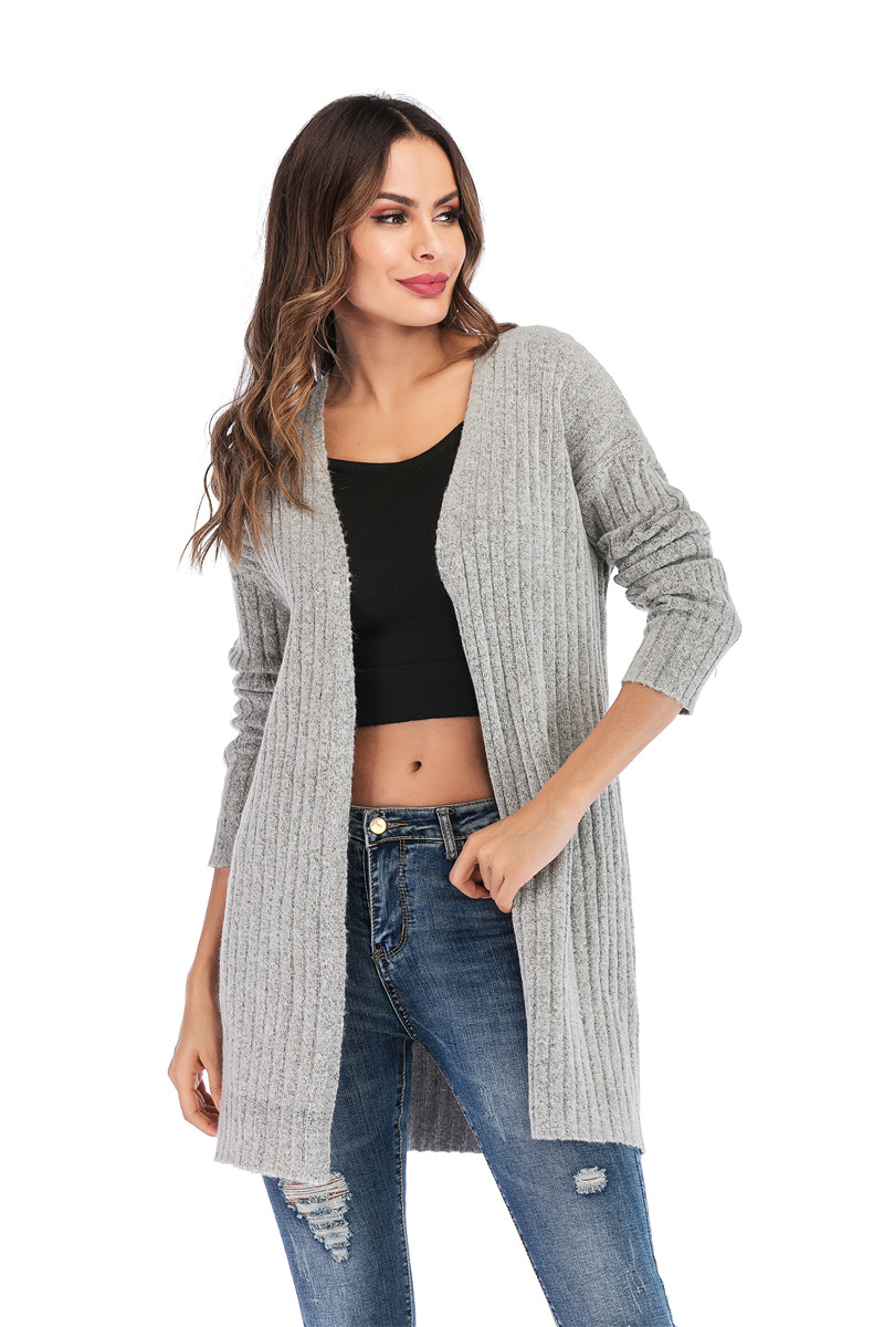 Fall Winter Cute Knitted Middle Long Ribbed Cardigan Dress for Women Kawaii Ladies Knit Drop Shoulder Sweater Coat Oversized S-L 30