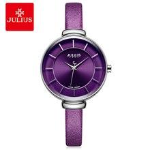 Купить с кэшбэком Julius Slim Purple Red Brown Black Leather Strap Silver Wrist Watch Ladys Watch Small Dial 30m Waterproof Hour Clock Sat JA-638