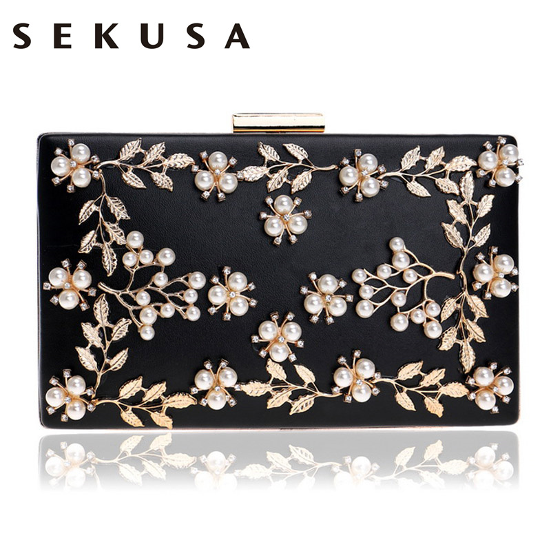 SEKUSA Women Fashion Clutch Bag Beaded Leaf Metal Gold Lady Evening Bag Chain Shoulder Handbags Party Wedding Bridal Bags sekusa pu fashion women diamonds luxurious evening bags clutch messenger shoulder chain handbags purse beaded wedding bag