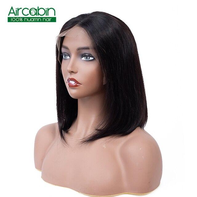 Corta 13*4 pelucas de cabello humano pelo brasileño de la extensión del pelo Bob pelucas para mujeres negras Middele parte 130% de densidad Aircabin