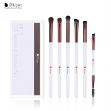 купить DUcare Makeup Brushes 6PCS Eye Makeup Brush Eyeshadow Blending Eyebrow Concealer Brush Natural Hair Make Up Brush Set with Bag онлайн