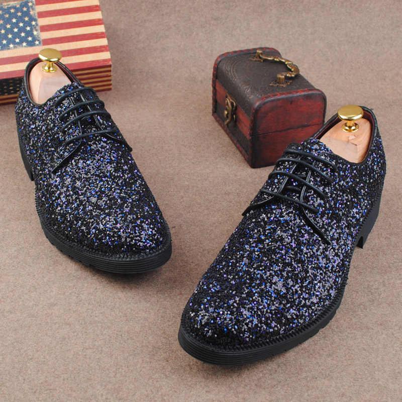 53a8e0f80d367 ... Europe bling Flat Leather gz Shoes Rhinestone Fashion Mens Loafer Dress  Shoes Men Casual Diamond dancing