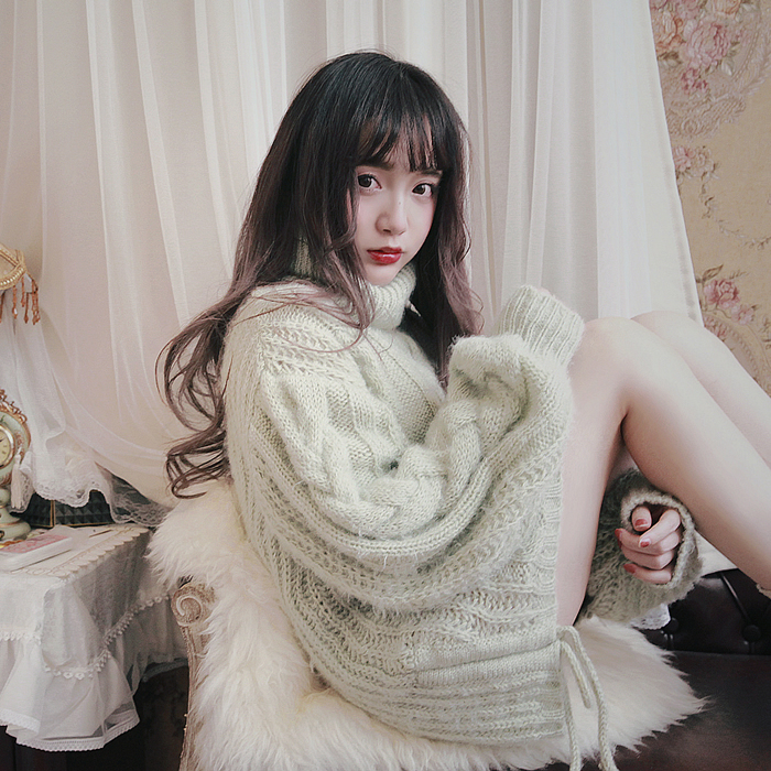 Princess Sweet White Sweater Bobon21 Abnormal Warm Macarons Warm In The Long Lace Hem Mohair Turtleneck Sweater Women T1578