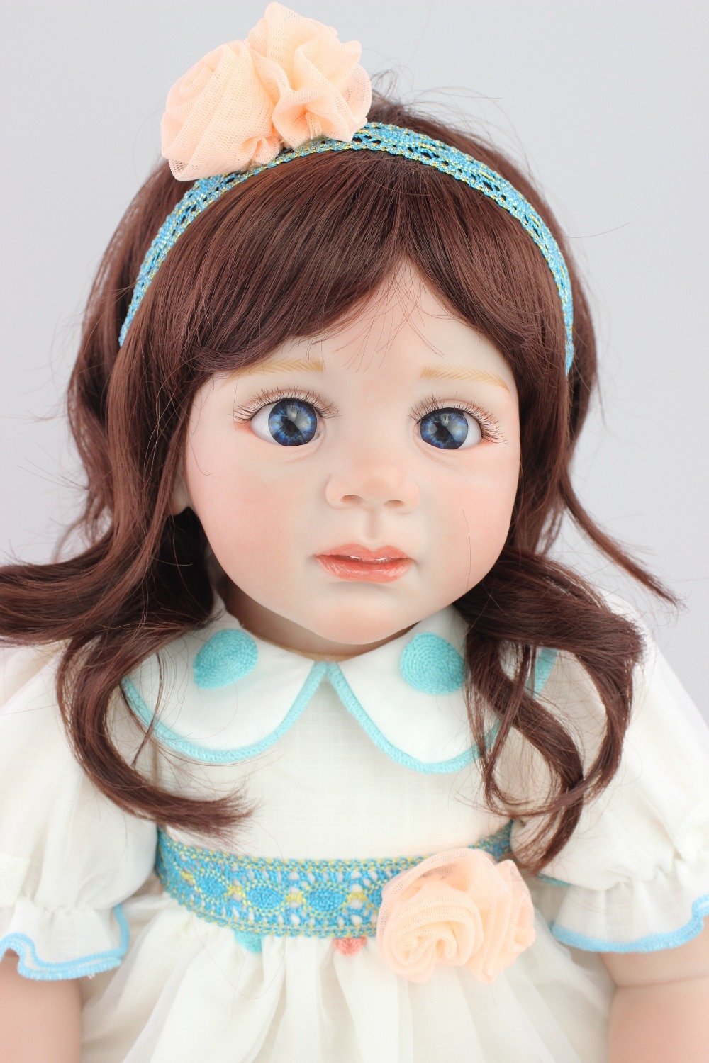 2015 new design 24inch Reborn Toddler baby doll Fridolin lifelike sweet girl real gentle touch new arrived 55 60cm silicone reborn baby dolls fridolin sweet girl real gentle touch rooted human hair with pink dress newyear