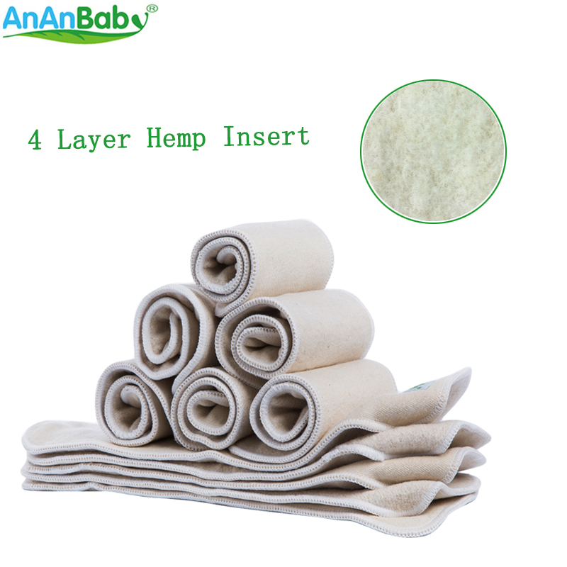 100pcs/lot Hemp Inserts 4 Layers Reusable Insert Liner Fit Baby Cloth Diaper Babies Nappy Inserts