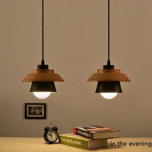 Image 5 - 北欧装飾ペンダントライトサスペンション照明器具、 E27 アルミ木製ペンダントランプ現代の照明器具黒、白