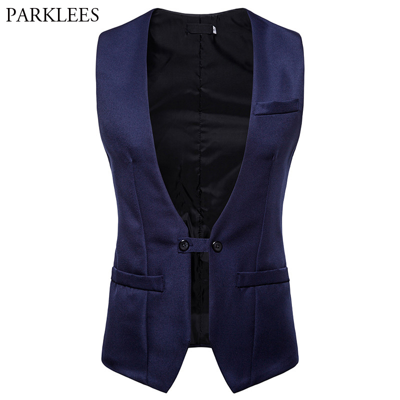 Mens Slim Fit Double Breasted Suit Vest 2018 Autumn New Sleeveless Vest Waistcoat Men Wedding Groom Tuxedo Vests Chaleco Hombre