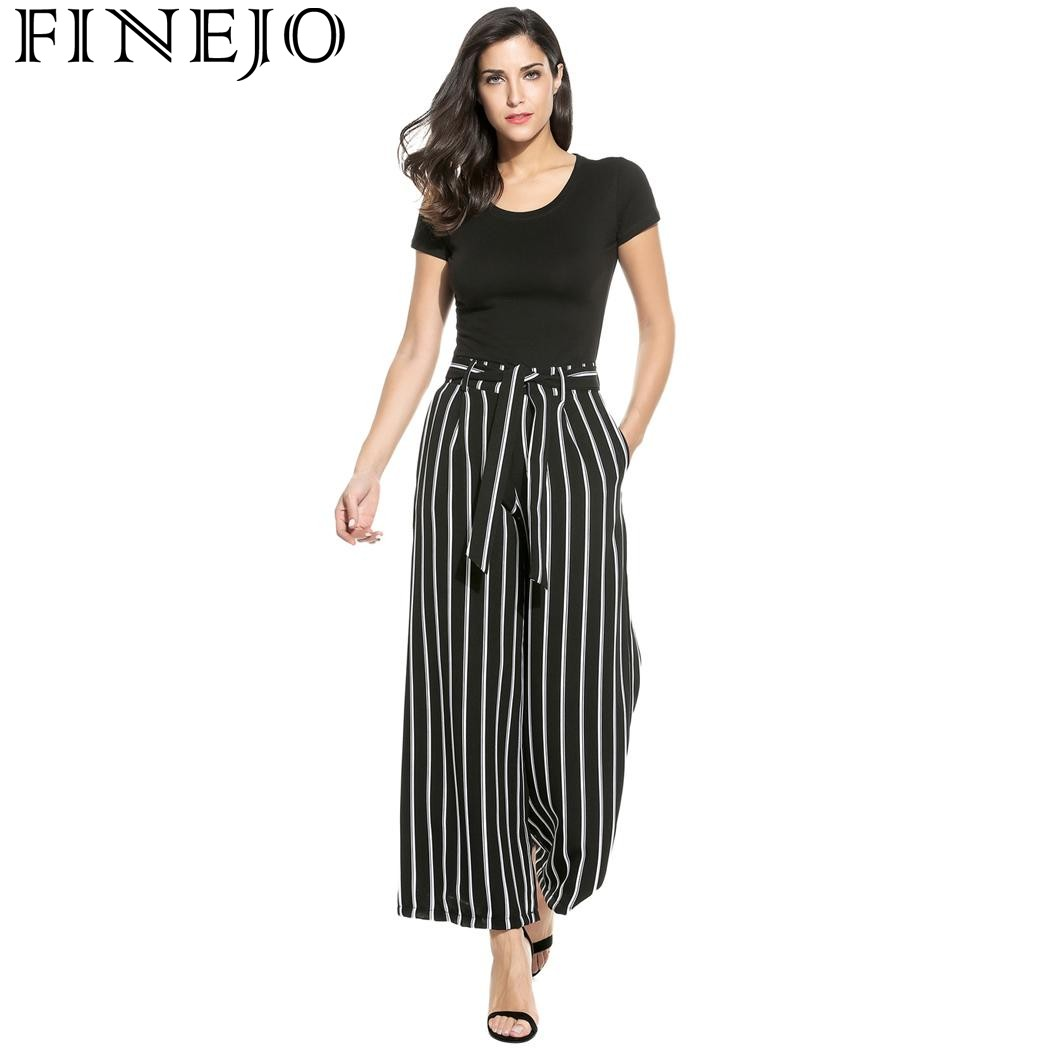 b0693635d6 FINEJO Women Fashion Vintage Style High Waist Striped Culottes Wide Leg  Pants with Belt 2018 Camiseta Tops Blusa Spring summer