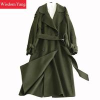 Winter Women Coat Army Green Long Sleeve Sheep Wool Cashmere Coats Belt Ladies Elegant Trench Woolen Overcoats Abrigos Mujer